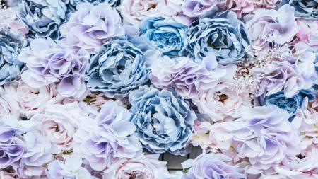 Fancy Blue Rose Flowers Zoom Background Modelo de Design