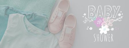 Designvorlage Baby Shower Kids Clothes in pastel colors für Facebook cover
