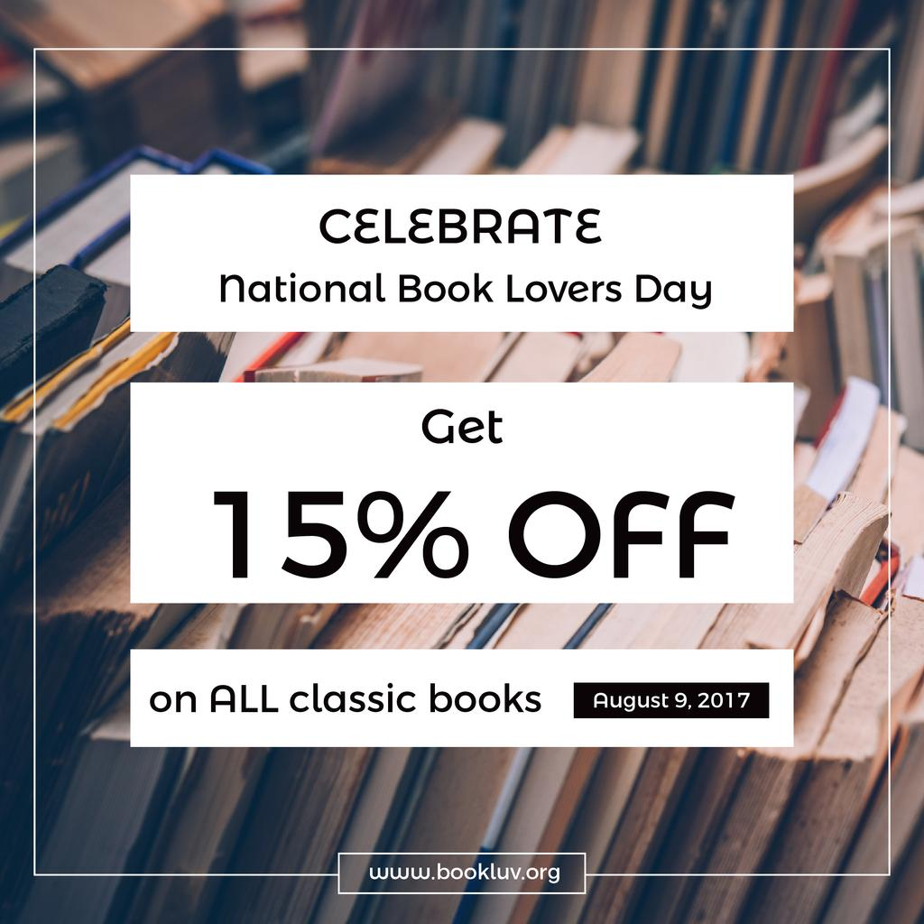 discount card for bookstore, national book lovers day poster — Crear un diseño