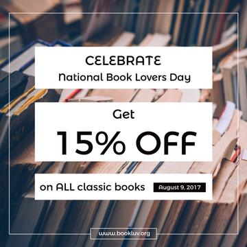 discount card for bookstore, national book lovers day poster