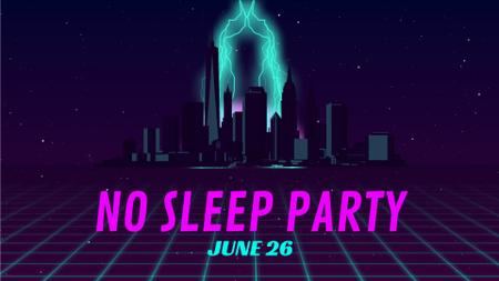 Plantilla de diseño de Party Invitation Night Futuristic City Lights Full HD video