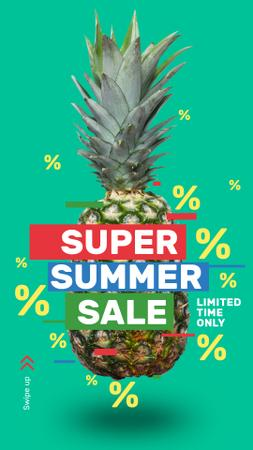 Summer Sale Raw Pineapple Fruit Instagram Story – шаблон для дизайну