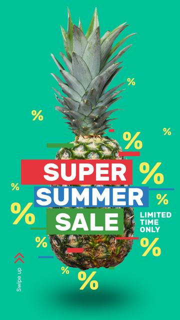 Summer Sale Raw Pineapple Fruit Instagram Storyデザインテンプレート