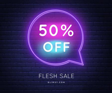 Flash Sale announcement in Neon frame Facebook Tasarım Şablonu