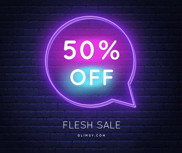 Flash Sale announcement in Neon frame Facebook Design Template