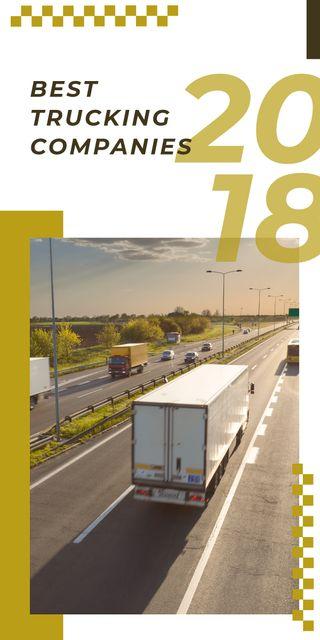 Plantilla de diseño de Trucking Company Cars driving on a road Graphic