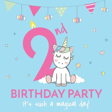 Birthday party Invitation with Cute Unicorn Instagram Modelo de Design
