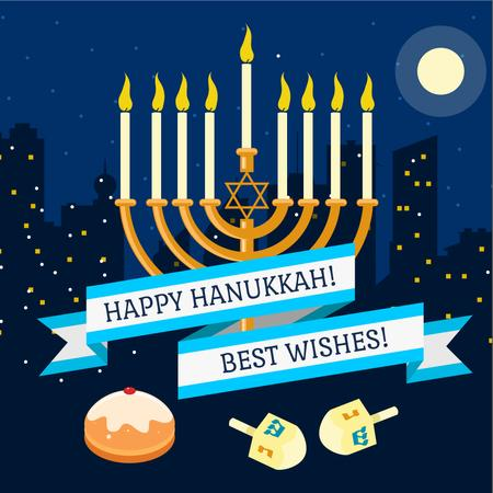 Happy Hanukkah Greeting with Menorah Instagramデザインテンプレート