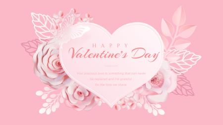 Template di design Pink heart with flowers Full HD video