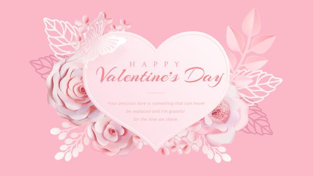 Ontwerpsjabloon van Full HD video van Pink heart with flowers