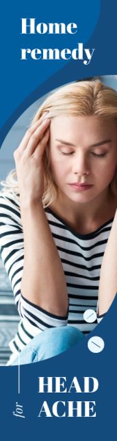 Woman Suffering from Headache in Blue Skyscraper – шаблон для дизайна