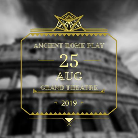 Theater invitation with ancient Coliseum Instagram AD – шаблон для дизайну