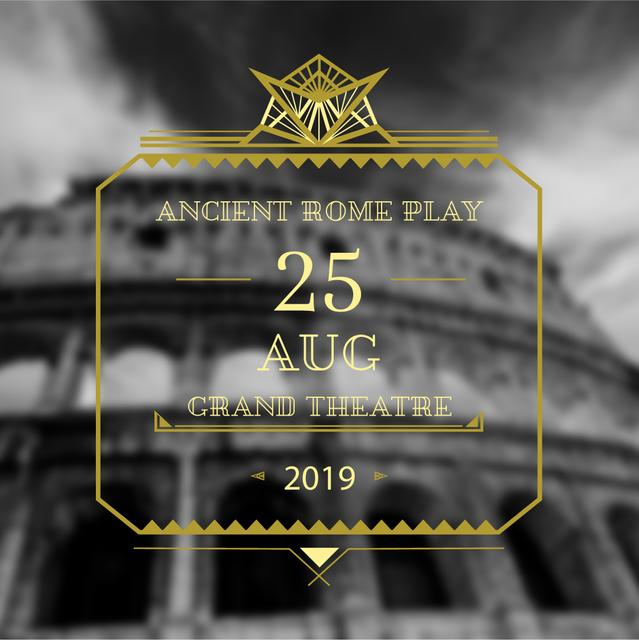 Theater invitation with ancient Coliseum Instagram AD Design Template