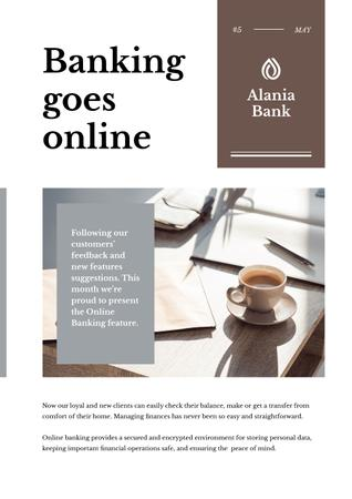 Online Banking Ad with Coffee on Workplace Newsletter Modelo de Design