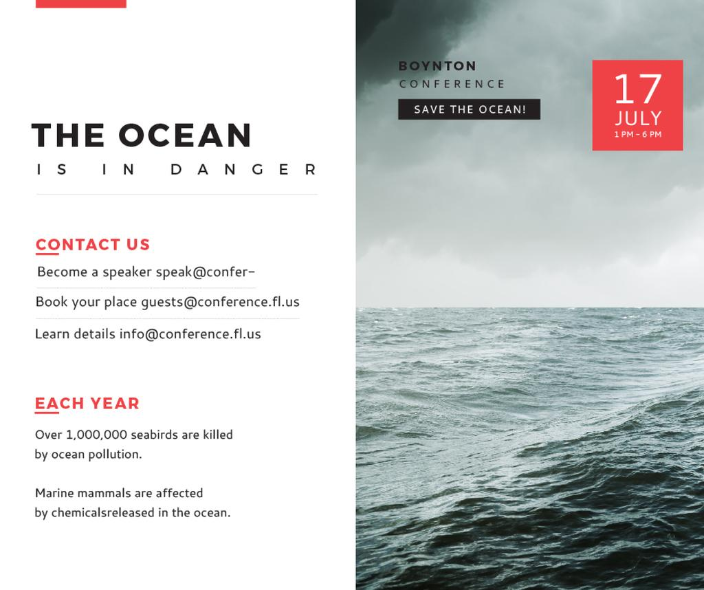 Ecology Conference Invitation Stormy Sea Waves | Facebook Post Template — Створити дизайн
