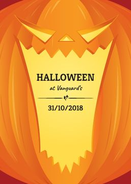 Halloween Celebration Invitation Pumpkin Lantern | Flyer Template