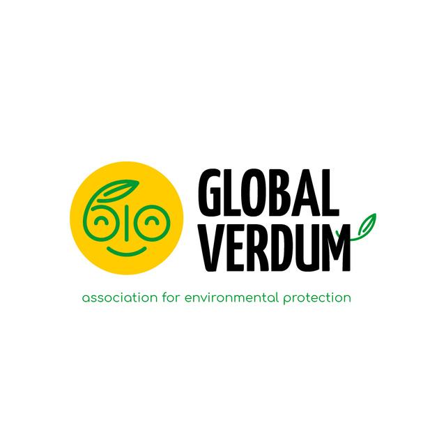Plantilla de diseño de Environmental Organization with Smiling Face with Leaf Logo