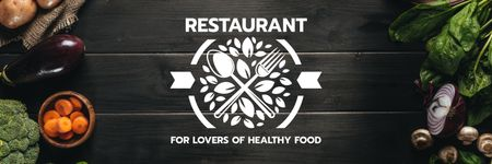 restaurant for lovers of healthy food poster Twitter Modelo de Design