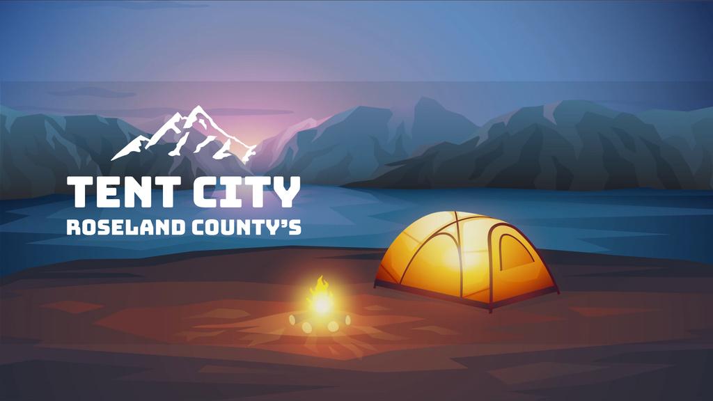 Fire burning by tent camp — Crea un design