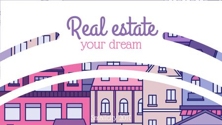 Real Estate Ad with Modern Buildings Title Design Template