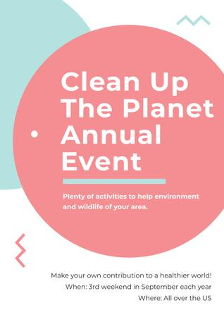 Clean up the Planet Annual event Poster Modelo de Design