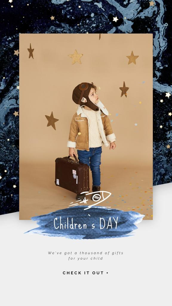 Children's Day Greeting Kid Pretending an Aviator | Vertical Video Template — Maak een ontwerp