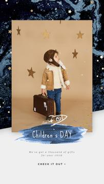 Children's Day Greeting Kid Pretending an Aviator | Vertical Video Template