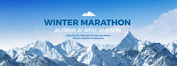 Winter Marathon Announcement Snowy Mountains | Facebook Cover Template