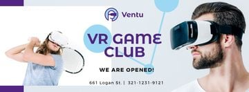 People Playing Tennis in VR Glasses | Facebook Cover Template