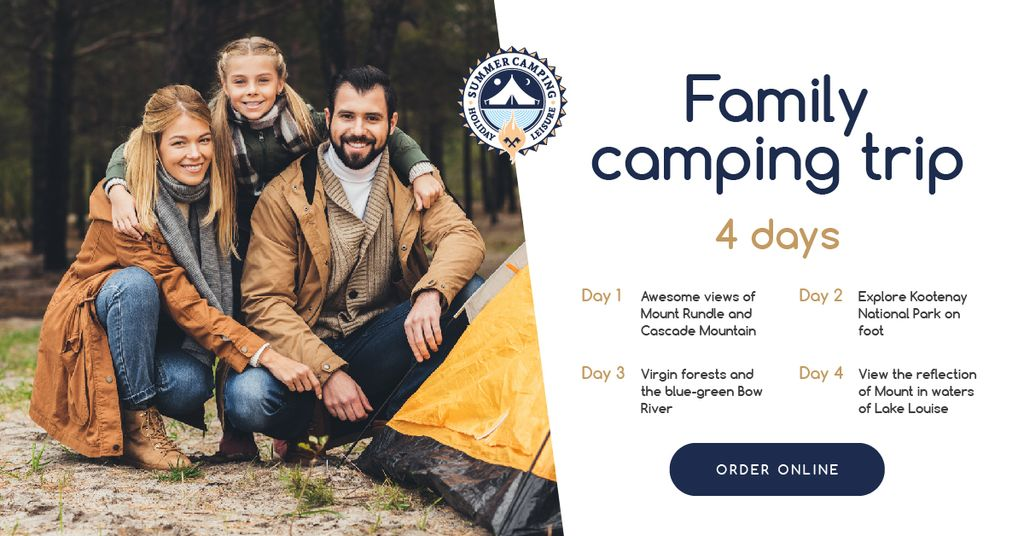 Camping Trip Offer Family by Tent in Mountains | Facebook Ad Template — Créer un visuel