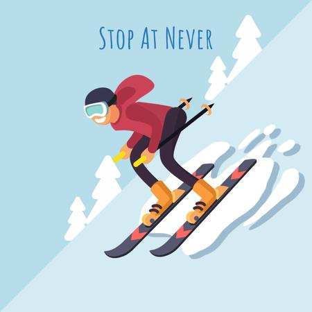 Plantilla de diseño de Skier on a snowy slope Animated Post
