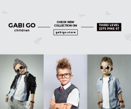 Plantilla de diseño de Gabi Go children clothing store Medium Rectangle