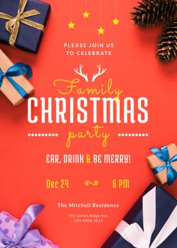 Christmas Party Invitation Gifts with Bows in Red