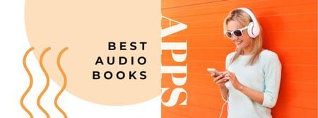 Audio books Offer with Woman in Headphones Facebook cover Modelo de Design