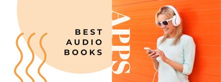 Plantilla de diseño de Audio books Offer with Woman in Headphones Facebook cover