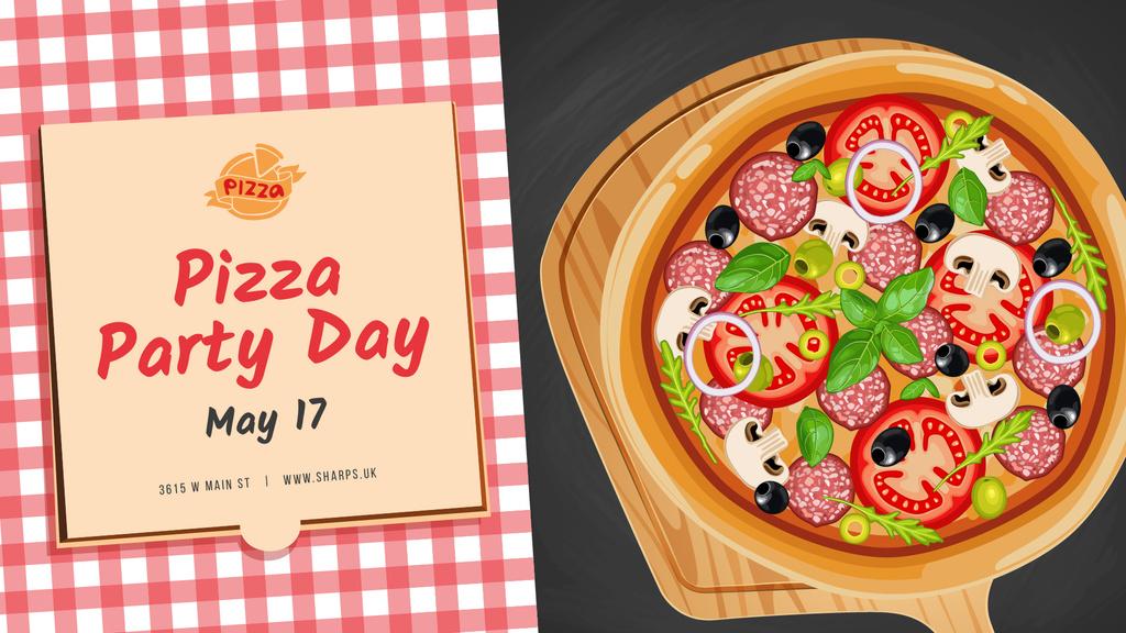 Pizza Party Day Invitation — Создать дизайн