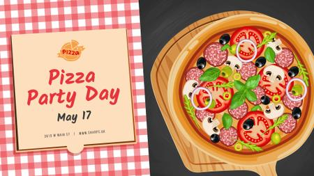 Modèle de visuel Pizza Party Day Invitation - FB event cover