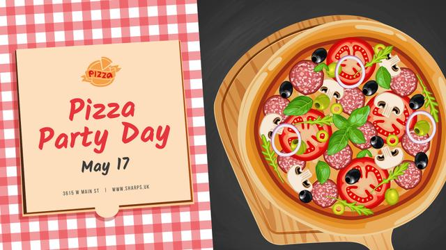 Modèle de visuel Pizza Party Day Invitation - FB event cover