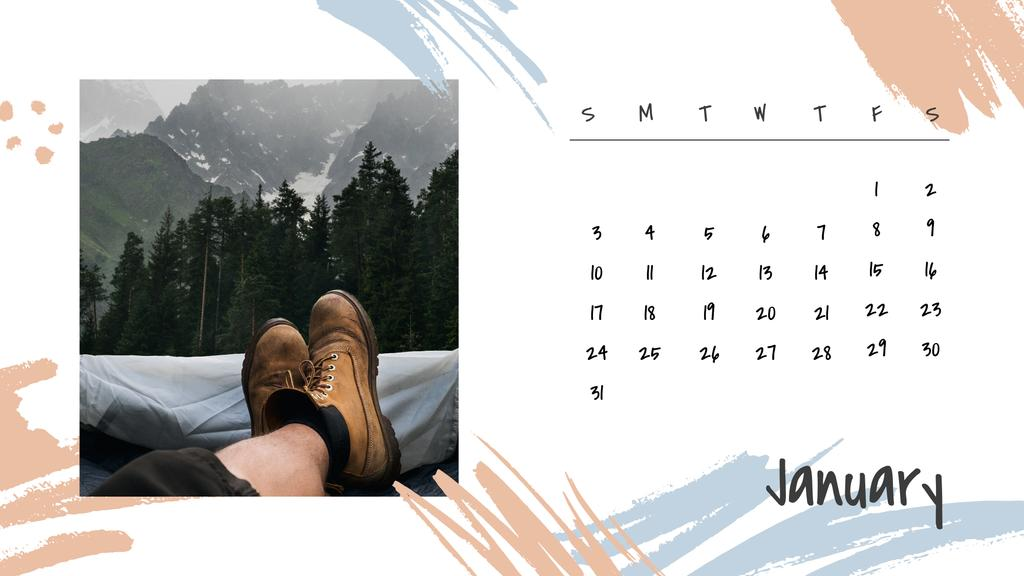 Wanderlust concept with Young people Travelling Calendar Design Template