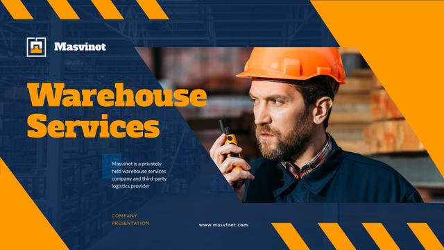 Warehouse Services Ad with Man in Hard Hat Presentation Wideデザインテンプレート