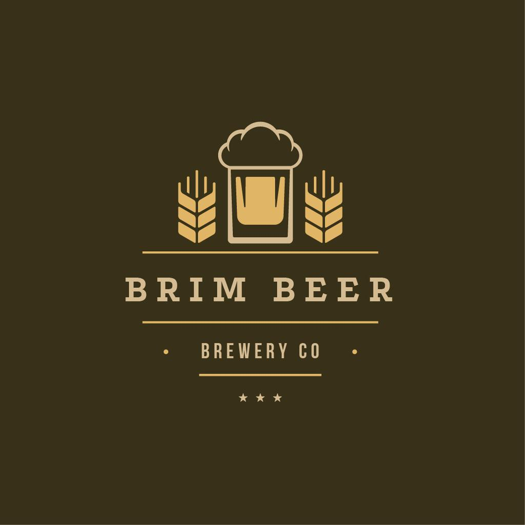 Brewery Ad Glass of Beer in Yellow | Logo Template — Crear un diseño