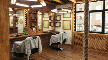 Authentic Vintage Barbershop interior Zoom Background Modelo de Design