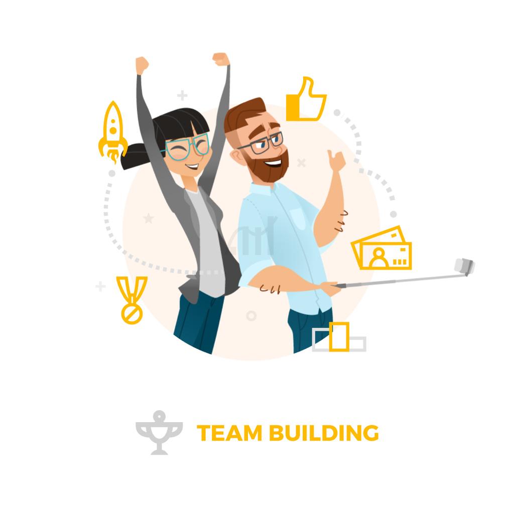Business colleagues taking selfie — Maak een ontwerp