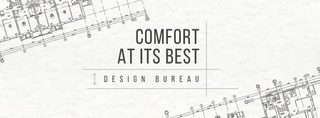 Plantilla de diseño de Design Bureau ad on blueprint Facebook cover