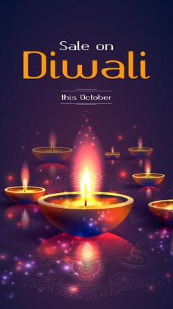 Designvorlage Happy Diwali Sale Glowing Lamps für Instagram Story