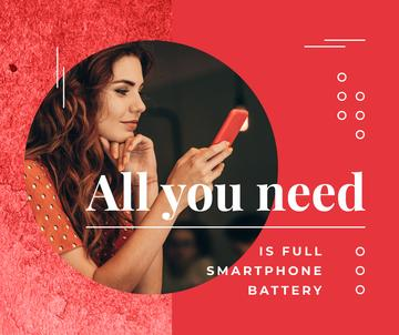Woman using smartphone in red