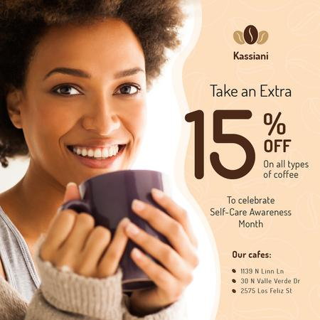 Self-Care Awareness Month Cafe Promotion Woman with Cup Instagram Modelo de Design