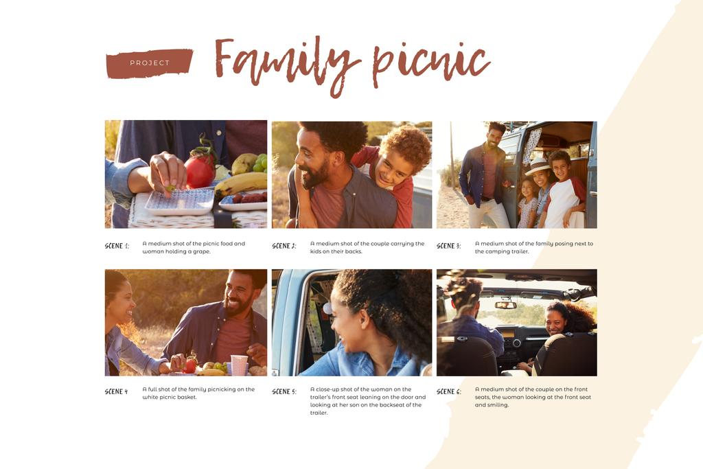 Happy Family on Picnic Storyboard Design Template