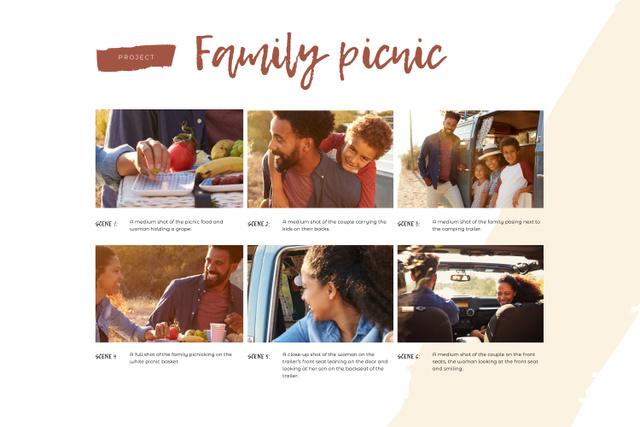 Happy Family on Picnic Storyboard Modelo de Design