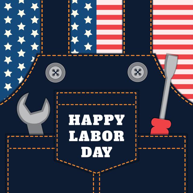 Ontwerpsjabloon van Instagram van Happy Labor Day Jumpsuit with Tools